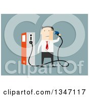 Clipart Of A Flat Design White Businessman Holding A Gas Pump Nozzle Over Blue Royalty Free Vector Illustration by Vector Tradition SM