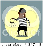 Clipart Of A Flat Design Black Male Robber Holding Keys Royalty Free Vector Illustration