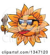 Clipart Of A Cartoon Summer Sun Character Wearing Sunglasses Giving A Thumb Up And Holding A Melting Ice Cream Cone Royalty Free Vector Illustration
