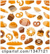Clipart Of A Seamless Background Pattern Of Bread And Baked Goods Royalty Free Vector Illustration