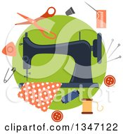 Clipart Of A Sewing Machine With Fabric And Accessories Over Green Royalty Free Vector Illustration