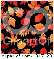 Clipart Of A Seamless Background Pattern Of Orange Autumn Leaves On Black Royalty Free Vector Illustration by Vector Tradition SM