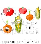 Clipart Of Cartoon Faces Hands Tomatoes Yellow Onions And Corn Royalty Free Vector Illustration