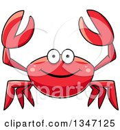 Clipart Of A Cartoon Happy Red Crab Holding Up His Claws Royalty Free Vector Illustration