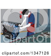 Clipart Of A Male Mechanic Working On A Car Engine In A Garage Royalty Free Vector Illustration