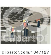 Clipart Of A Team Of Construction Workers Working On An Interior Royalty Free Vector Illustration