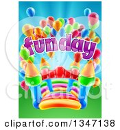Clipart Of A Colorful Bouncy Castle Jumping House With Party Balloons And Fun Day Text Royalty Free Vector Illustration by AtStockIllustration