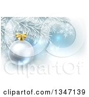 Clipart Of A 3d Silver Christmas Bauble Ornament On A Tree Over Blue And Snowflakes Royalty Free Vector Illustration by AtStockIllustration