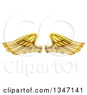 Clipart Of A Pair Of 3d Metal Gold Wings Royalty Free Vector Illustration