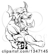 Clipart Of A Black And White Muscular Fighting Welsh Dragon Man Punching Royalty Free Vector Illustration by AtStockIllustration