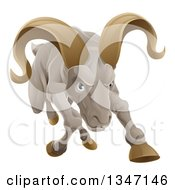 Clipart Of A Tough Angry Ram Sheep Charging Forward Royalty Free Vector Illustration