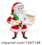 Clipart Of A Cartoon Happy Christmas Santa Claus Holding A Parchment Scroll And Quill Pen Royalty Free Vector Illustration