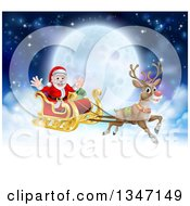 Clipart Of A Flying Magic Christmas Red Nosed Reindeer Rudolph Flying Santa In A Sleigh Above The Clouds Against A Full Moon Royalty Free Vector Illustration by AtStockIllustration