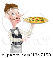 Cartoon Caucasian Male Waiter With A Curling Mustache Holding A Pizza On A Tray And Pointing