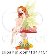 Clipart Of A Beautiful Caucasian Female Fairy Sitting On A Fly Agaric Mushroom With Autumn Leaves Royalty Free Vector Illustration