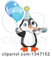 Cute Birthday Party Penguin Blowing A Noise Maker Wearing A Hat And Holding Balloons