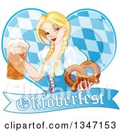 Clipart Of A Happy Blond Oktoberfest Beer Maiden Holding A Mug And Soft Pretzel Over A Diamond Patterned Heart And Banner Royalty Free Vector Illustration