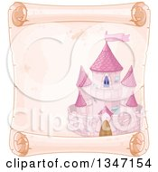 Clipart Of A Pink Fairy Tale Castle On An Aged Parchment Scroll Page Royalty Free Vector Illustration