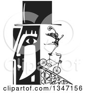 Black And White Woodcut Mans Profiled Head With A Circus Act Woman Balancing On A Bicycle Coming Out Of The Back
