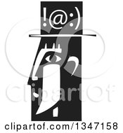 Clipart Of A Black And White Woodcut Mans Profiled Head With Texting Symbols Royalty Free Vector Illustration by xunantunich