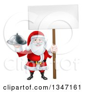 Clipart Of A Happy Santa Claus Holding A Silver Cloche Platter And Blank Sign 3 Royalty Free Vector Illustration