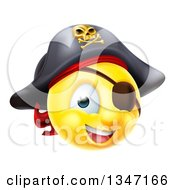 Clipart Of A 3d Yellow Smiley Emoji Emoticon Pirate Captain With An Eye Patch Royalty Free Vector Illustration by AtStockIllustration