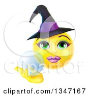 Clipart Of A 3d Yellow Female Smiley Emoji Emoticon Witch Holding A Crystal Ball Royalty Free Vector Illustration by AtStockIllustration