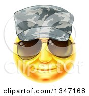 Clipart Of A 3d Yellow Soldier Smiley Emoji Emoticon Face Wearing Sunglasses And A Camo Hat Royalty Free Vector Illustration by AtStockIllustration