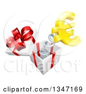 3d Gold Euro Currency Symbol Popping Out Of A Gift Box