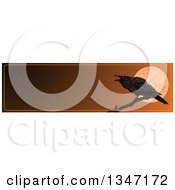 Clipart Of A Halloween Raven Crow Over A Full Moon Website Banner With Text Space Royalty Free Vector Illustration by Pushkin