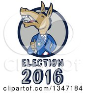 Clipart Of A Cartoon Politician Democratic Donkey In A Suit Giving A Thumb Up Emerging From A Circle Over Election 2016 Text Royalty Free Vector Illustration by patrimonio