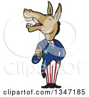Clipart Of A Cartoon Politician Democratic Donkey In A Suit Giving A Thumb Up Royalty Free Vector Illustration