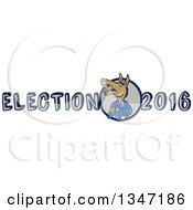 Cartoon Politician Democratic Donkey In A Suit Giving A Thumb Up In Election 2016 Text