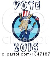 Clipart Of A Cartoon Politician Democratic Donkey In A Suit In A Blue Circle Waving An American Flag With Vote 2016 Text Royalty Free Vector Illustration