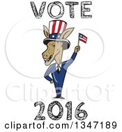 Clipart Of A Cartoon Politician Democratic Donkey In A Suit Waving An American Flag With Vote 2016 Text Royalty Free Vector Illustration by patrimonio