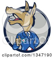 Clipart Of A Cartoon Politician Democratic Donkey In A Suit Giving A Thumb Up In A Navy Blue And Gray Circle Royalty Free Vector Illustration by patrimonio