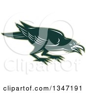 Clipart Of A Retro Angry Green Raven Crow Bird Royalty Free Vector Illustration by patrimonio