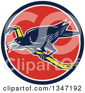 Clipart Of A Retro Raven Bird On A Crowbar In A Blue White And Red Circle Royalty Free Vector Illustration by patrimonio