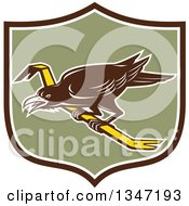 Clipart Of A Retro Raven Bird On A Crowbar In A Brown White And Green Shield Royalty Free Vector Illustration by patrimonio