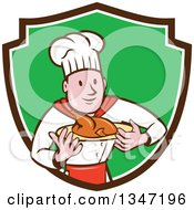 Clipart Of A Cartoon White Male Chef Carrying A Roasted Chicken On A Platter In A Brown White And Green Shield Royalty Free Vector Illustration