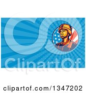 Clipart Of A Retro Male Soldier In An American Flag Circle And Blue Rays Background Or Business Card Design Royalty Free Illustration