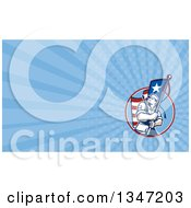 Retro American Patriot Soldier Carrying A Flag And Blue Rays Background Or Business Card Design