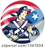 Clipart Of A Retro American Patriot Minuteman Revolutionary Soldier Holding A Flag Banner In A Circle Royalty Free Vector Illustration