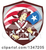 Clipart Of A Retro American Patriot Minuteman Revolutionary Soldier Holding A Flag Banner In A Shield Royalty Free Vector Illustration by patrimonio