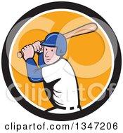 Poster, Art Print Of Cartoon White Male Baseball Player Athlete Batting In A Black White And Orange Circle