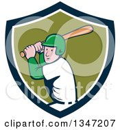 Poster, Art Print Of Cartoon White Male Baseball Player Athlete Batting In A Navy Blue White And Green Shield