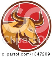 Clipart Of A Retro Texas Longhorn Steer Bull In A Brown White And Red Circle Royalty Free Vector Illustration