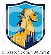 Clipart Of A Retro Crowing Rooster In A Blue And White Shield Royalty Free Vector Illustration by patrimonio