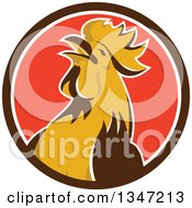 Clipart Of A Retro Crowing Rooster In A Brown White And Red Circle Royalty Free Vector Illustration