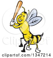 Clipart Of A Cartoon Bee Baseball Player Sports Mascot Batting Royalty Free Vector Illustration